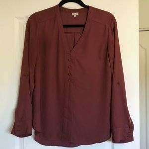 Burgundy Full Sleeve Blouse with Button Detail
